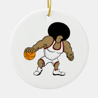 Afro basktball player ceramic ornament