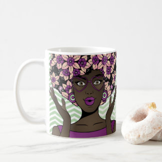 Afro Beauty & Purple Mint Flowers Coffee Mug
