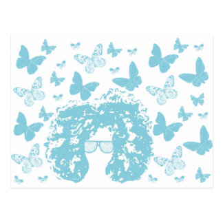 Afro, Butterflies and Sunglasses Postcard