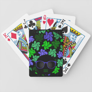 Afro Diva Green & Blue Bicycle Playing Cards