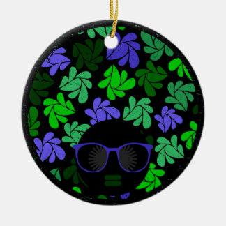 Afro Diva Green & Blue Ceramic Ornament