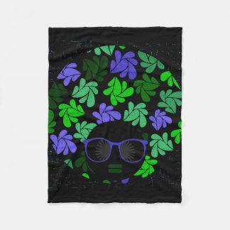 Afro Diva Green & Blue Fleece Blanket