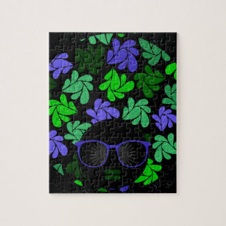 Afro Diva Green & Blue Jigsaw Puzzle