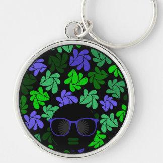 Afro Diva Green & Blue Keychain
