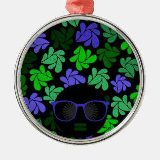 Afro Diva Green & Blue Metal Ornament