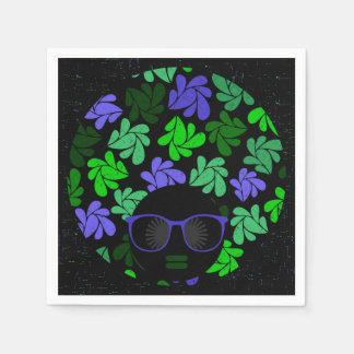 Afro Diva Green & Blue Paper Napkins