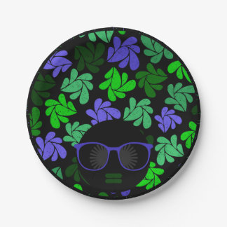 Afro Diva Green & Blue Paper Plate