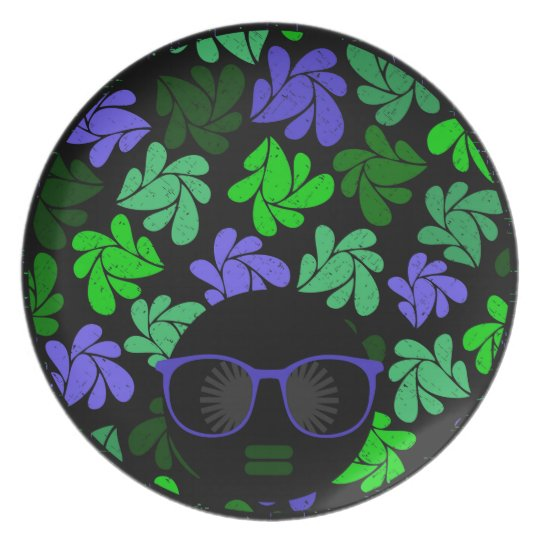 Afro Diva Green & Blue Plates
