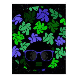 Afro Diva Green & Blue Postcard