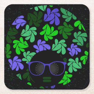 Afro Diva Green & Blue Square Paper Coaster