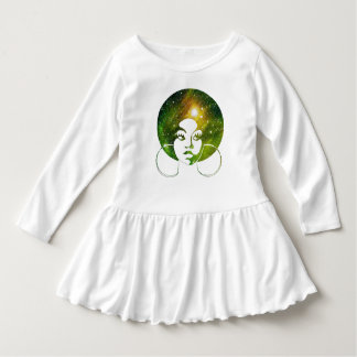 Afro Diva Green Galaxy Girls Ruffle T Dress