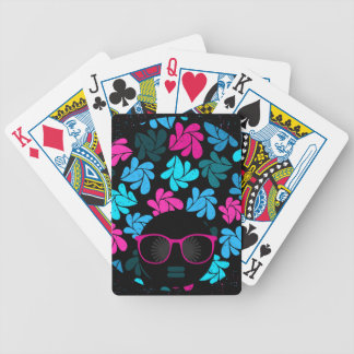 Afro Diva Turquoise & Hot Pink Bicycle Playing Cards