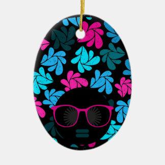 Afro Diva Turquoise & Hot Pink Ceramic Ornament