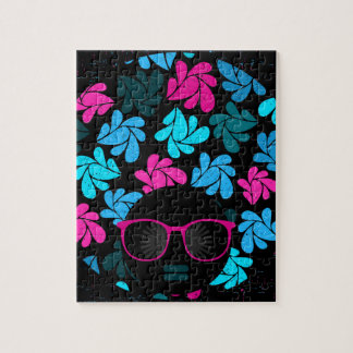 Afro Diva Turquoise & Hot Pink Jigsaw Puzzle