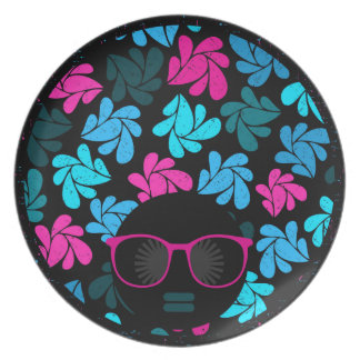 Afro Diva Turquoise & Hot Pink Plate