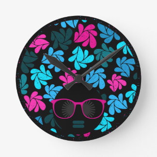 Afro Diva Turquoise & Hot Pink Round Clock