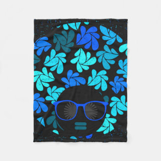 Afro Diva Turquoise Teal Fleece Blanket