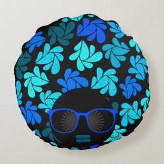 Afro Diva Turquoise Teal Home Decor Round Pillow