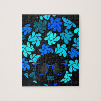 Afro Diva Turquoise Teal Jigsaw Puzzle