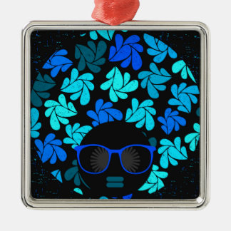 Afro Diva Turquoise Teal Metal Ornament