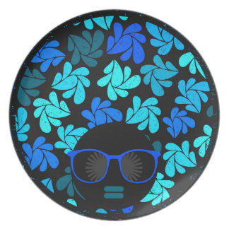Afro Diva Turquoise Teal Plate
