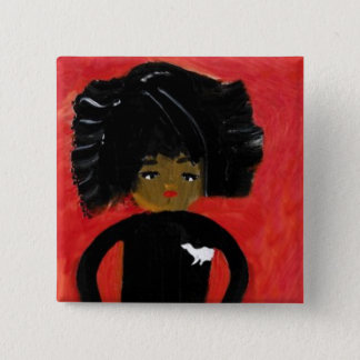Afro girl 2 inch square button