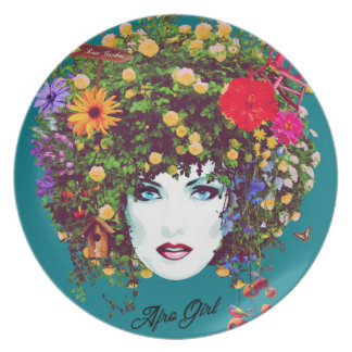 Afro girl plate