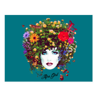 Afro girl postcard