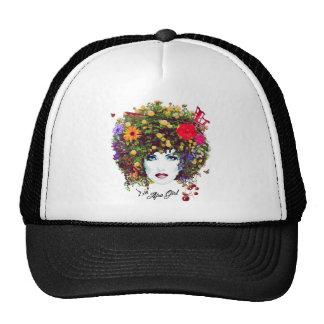 Afro girl trucker hat