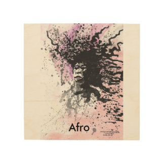 Afro graphics by SweetPieArt Wood Print