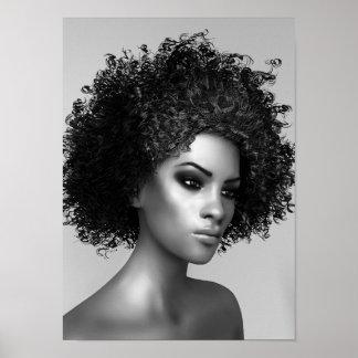 Afro Hair 3D Render Poster
