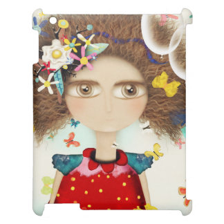 AFRO HAIR DOLL HUGE EYES FLORAL GARLAND COVER FOR THE iPad 2 3 4