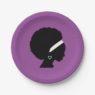 Afro Hair Purple Paper Plate