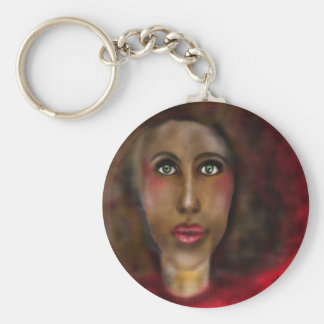 afro lady basic round button keychain