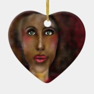 afro lady ceramic heart ornament