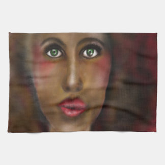 afro lady kitchen towel