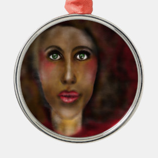 afro lady Silver-Colored round ornament