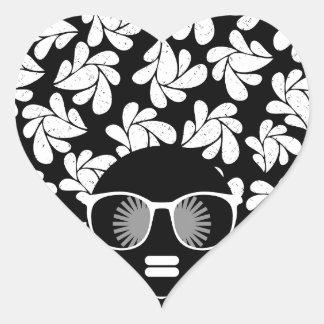 Afro Love Black & White Heart Sticker