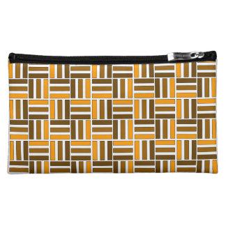 Afro-Modern Kente:  Brown, Sienna, & Orange Cosmetic Bag