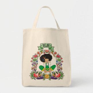 AFRo Vegan natural girl grocery tote bag