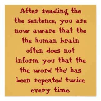 After reading thethe sentence, you arenow aware... poster