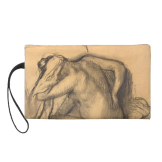 After the Bath Woman Drying Hair by Edgar Degas Wristlet