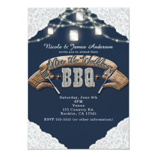 AFTER THE WEDDING BBQ Blue Mason Jar Lights & Lace Card