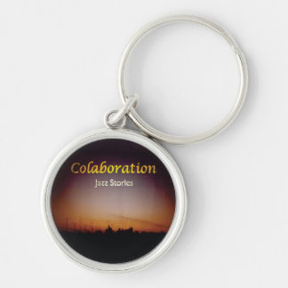 Afterglow Sky Jazz Stories Album Cover Art Black Silver-Colored Round Keychain