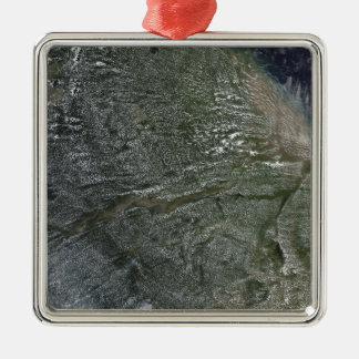 Afternoon clouds over the Amazon Basin Silver-Colored Square Ornament