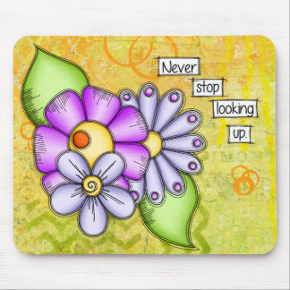 Afternoon Delight Positive Thought Doodle Flower Mouse Pad