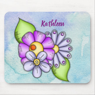 Afternoon Delight Watercolor Doodle Flower Mousepa Mouse Pad