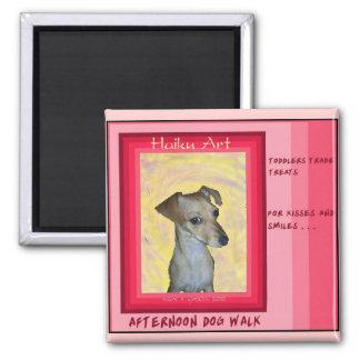 Afternoon Dogwalk Haiku Art Magnet