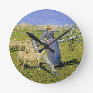 Afternoon in the Alps, 1892 (oil on canvas) Wall Clock