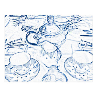 Afternoon Tea in Blue Postcard